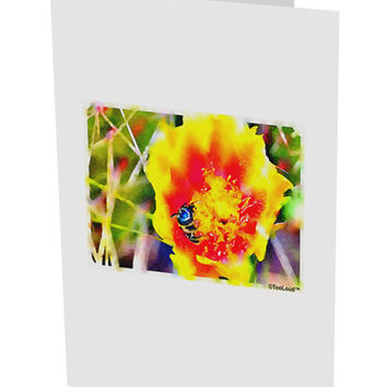 "Bee Cactus Watercolor 10 Pack of 5x7"" Side Fold Blank Greeting Cards"