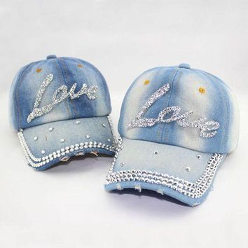 DCCKHY9 Women's fashion love letter rhinestone baseball cap Lady's casual denim hat Free shipping
