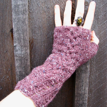 Women's Gloves Knitted PurplePink Tweed Cable by GretaHoneycutt