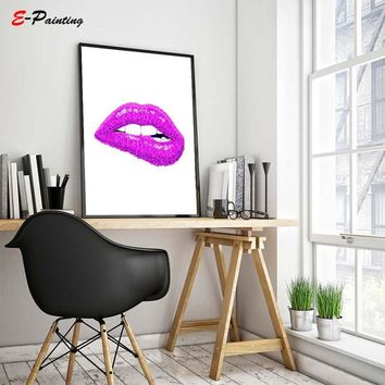 Lips Print Lipstick Purple Poster Fashion Wall Art Decor Sparkle Make Up Room Bathroom Decor Canvas Painting Picture