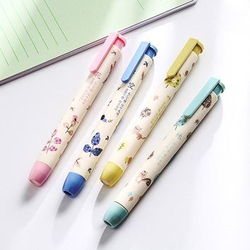 Cute Kawaii Flower Pencil Erasers Creative Automatic Rubber For Kids Gift School Supplies Free Shipping 2731