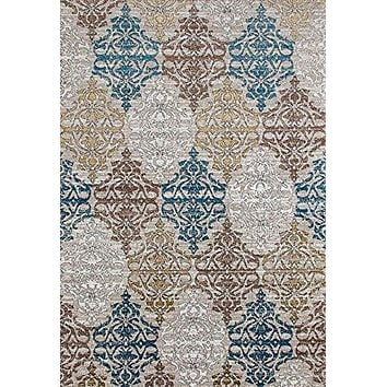 4348 Beige Damask Contemporary Area Rugs