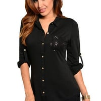 Sequin Patch Button Top in Black