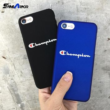 Phone Cases Fashion Hard Plastic Cover Case for iPhone 5 5S SE 6 S 6S Plus 7 Plus 8 Plus X Couqe Champion Black Blue Cases