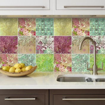 Floral Patchwork Tiles - Tile Stickers - Tile Decals - Interior Decor - PACK OF 9 - SKU:FPDATiles