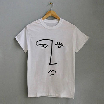 Abstract Face Profile Line Drawing Doodle T-Shirt - Nude Illustration Shirt Face Sketch Tshirt - Gift - Unisex - S M L XL - Black, White