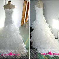 RW484 Ruffled Wedding Dress with Beading Mermaid Sweetheart Bridal Dress Long Bridal Gown with Lace Up Tiered Wedding Gown with Sequins