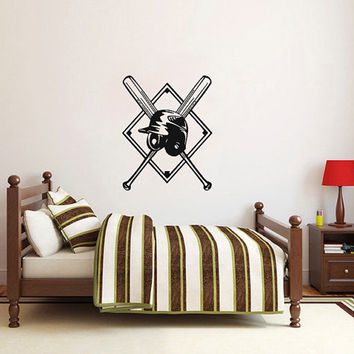 Vinyl Decal Sport Emblem Logo Baseball Helmet And Crossed Home Wall Decor Stylish Sticker Mural Design Children Kids Room V630
