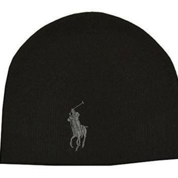 Ralph Lauren Polo Men's Unisex Big Pony Merino Wool Beanie Black/Gray