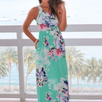 Mint and Pink Floral Racer Back Maxi Dress