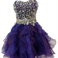 Azaria Style 5372 Blue Diamond Homecoming Dress
