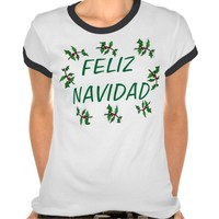 TEE SHIRT FELIZ NAVIDAD WITH HOLLY LEAVES