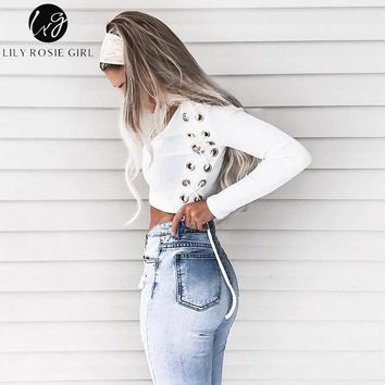 Lily Rosie Girl Sexy V Neck eyelet Lace Up Women White Knitted Shirts 2018 Autumn Winter Crop Blouse Shirt Long Sleeve Black Top