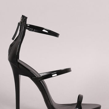 Qupid Vegan Leather Three Strap Open Toe Stiletto Heel