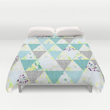 PASTEL NEON GEO FLORALS IN MINT Duvet Cover by Nika