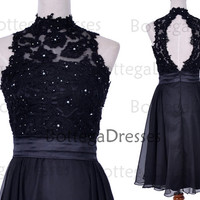 Knee Length High Neck Lace and Chiffon Black Short Bridesmaid Dresses, Short Prom Dresses, Black Evening Gown, Cocktail Dresses, Formal Gown