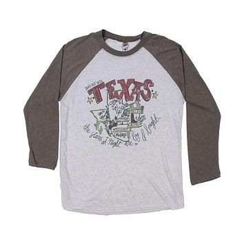 Texas Roadmap Raglan Tee Shirt by Southern Roots