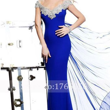 New Designer V Neck Crystal Mermaid Prom Dresses 2016 Sexy Beaded Royal Blue Vestidos De Fiesta Cap Sleeve Taffeta Dress Party