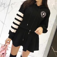 """Chrome Hearts"" Women Casual Stripe Horseshoe Letter Print Hooded Long Sleeve Sweater Short Skirt Set Two-Piece"
