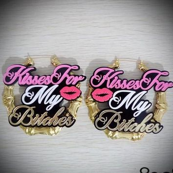 "2016 Popular Europe exaggerated Big acrylic earring ""kisses for my bitches"" Pink letters lips bamboo large Hiphop earrings women"