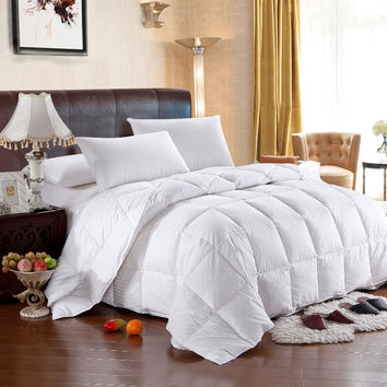 Striped Goose Down 300TC Egyptian Cotton Comforter