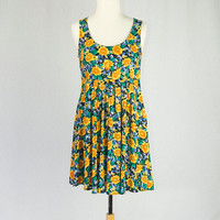 Vintage 1990's Babydoll Dress Sunflower Print Sundress