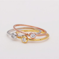 Diamond bezel sterling silver / gold vermeil / rose gold plated ring - Delicate simple everyday jewelry