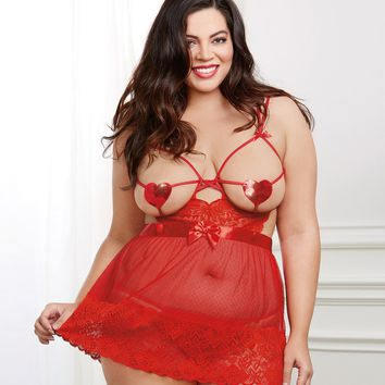 Plus Size Mesh Sequined Heart Apron Babydoll