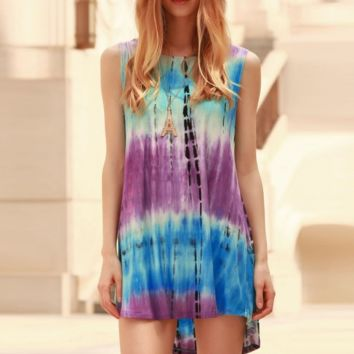 Womens Printed Tie Dye Gradient Sleeveless Dress