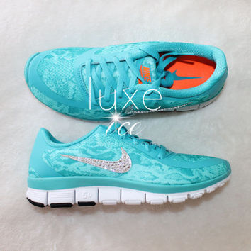 NEW! NIKE Free 5.0 v4 shoes w/Swarovski Crystals Snake Turquoise/White