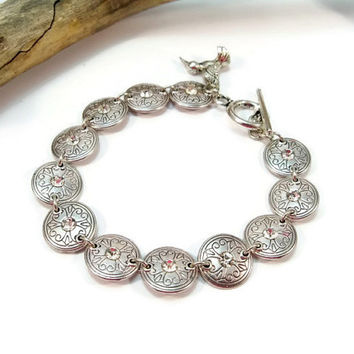 Silver and Rhinestone Bracelet, Silver Link Bracelet, Rhinestone Bracelet