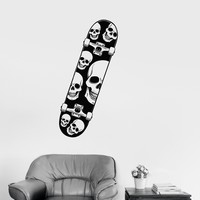 Vinyl Decal Skull Skateboard Extreme Sports Teen Room Wall Stickers Mural Unique Gift (ig2703)