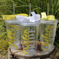 Set of 3 Personalized Tumblers with Names for Bridal Party - Bride Bridesmaid Maid of Honor Great for Bridal Party Gifts and Wedding Parties