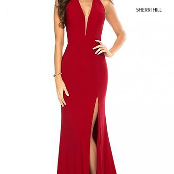Sleeveless Deep-V-Neck Sherri Hill Long Prom Dress