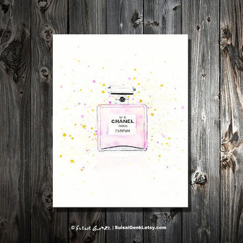 Chanel No5, Chanel, 16x20, Cherry Blossom, Canvas Print, Watercolor Painting, Parfum, Fashion Art,Gold Wall Decor, by Suisai Genki