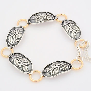 Silver and Gold Floral Bracelet, Sterling Silver Oval Link Bracelet, Gold Links Bracelet, Silver leaf Bracelet, Antique leaf Bracelet