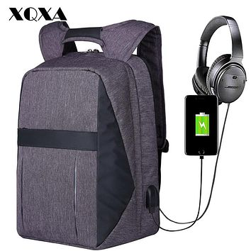 "XQXA Men Bag Laptop Backpack USB and Headphone Port Anti Theft Computer Rucksack Water-resistent 17.3"" laptops backpack travel"
