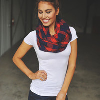 FLANNEL INFINITY- RED/NAVY