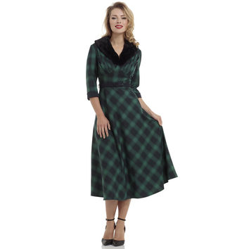 Voodoo Vixen Green Plaid Flare Dress