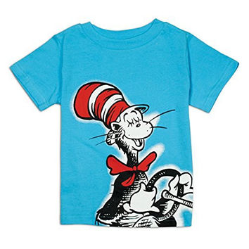 Bumkins Dr. Seuss Short Sleeve Toddler Tee, Blue Cat in Hat, 3T