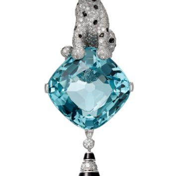 Panthère de Cartier High Jewelry necklace: Necklaces / Bracelet / Brooch - white gold, one 52.36-carat cushion-shaped aquamarine, blue tourmaline beads