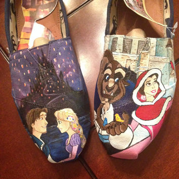 Custom Favorite Disney Scene Toms or Vans. Characters & Backgrounds, featuring Tangled and Beauty and the Beast