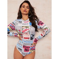 Newspaper & Cartoon Print Tee Bodysuit
