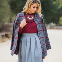 April Grey Plaid Sweater