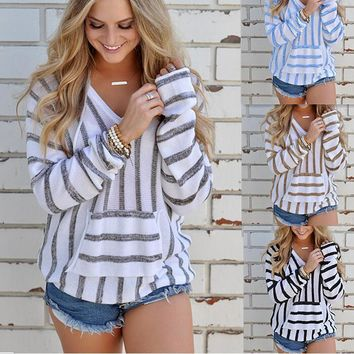 Casual striped sweater shirt 1018DY