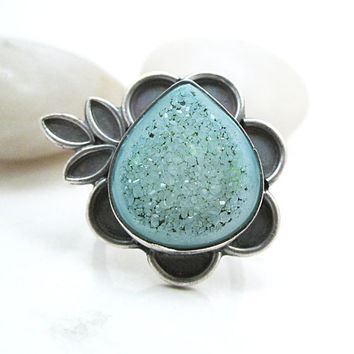 Turquoise Druzy Ring, Sterling Silver Flower Leaf Ring, One of a Kind Jewelry, Size 7 Ring - Water Lily