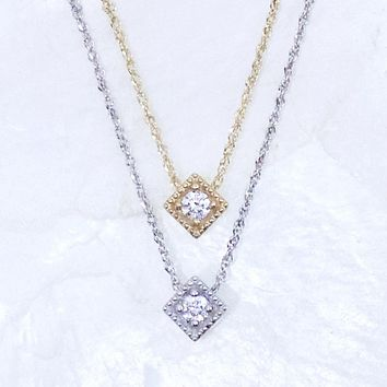 Up In The Air Floating Diamond Kite Solitaire Necklace