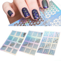 12 Tips/Sheet Fish Scale Nail Vinyls Irregular Triangle Grid Pattern Easy Use Nail Art Tips Manicure Stencil Nail Hollow Sticker