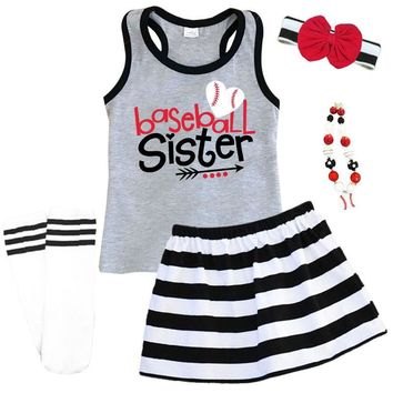 Baseball Sister Outfit Black Stripe Gray Tank Top And Skirt 24100190a