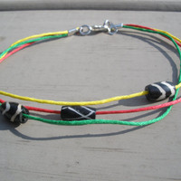 Summer Beach Rasta Surf Hemp Anklet With Tribal Beads and Clasp Closure
